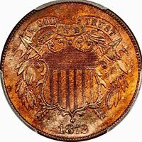 1872 TWO CENT PIECE LY  BLAZR GEM   PCGS MS 65 RED BROWN LOW POP 24/4
