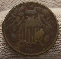 1865 COPPER TWO CENT PIECE 2141 UNITED STATES HISTORY 2 CENTS CIVIL WAR ISSUE