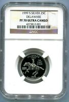 1999 S DELAWARE PROOF SILVER  STATE 25C  NGC PF70 UC   PR70