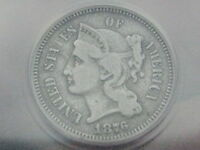 1876 THREE 3 CENT NICKEL  ANACS VF DETAILS  ALLAN GIFFORD COLLECTION