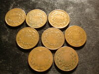 1864 1865 1866 1867 1868 1869 1870 1871 TWO 2 CENT COIN DECENT COINS HAZ