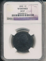 1800 DRAPED BUST LARGE CENT NGC CERTIFIED FINE DETAILS