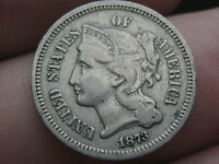 1873 THREE 3 CENT NICKEL  VG/FINE OBVERSE DETAILS  OPEN 3