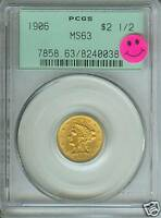 1906 $2.5 LIBERTY GOLD COIN PCGS MS63 MS 63 OLD GREEN HOLDER PQ