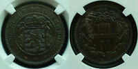 NGC  AU 50 BNKEY DATE1860A LUXEMBOURG 10 CENTTOP GRADE