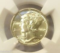 1937 P MERCURY DIME NGC GRADED DEEP IN FROSTY WHITE MINT LUSTER MS 67  FB