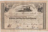 1860 BALTIMORE AND OHIO RAIL ROAD COMPANY STOCK CERTIFICATE 9 SHARES SMITH