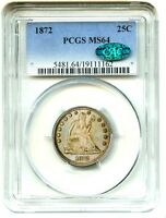 1872 25C PCGS/CAC MS64   COLORFUL TONING   LIBERTY SEATED QUARTER