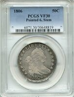 1806 DRAPED BUST HALF DOLLAR PCGS VF30  POINTED 6 WITH STEMS, 50C 30648819