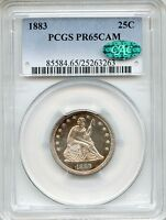 1883 LIBERTY SEATED QUARTER PCGS PR65CAMEO CAC   PROOF 25C 25263263