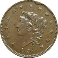 1836 CORONET CENT  BEAUTIFUL XF/AU  N 6 RARITY 2