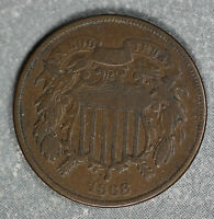 ORIGINAL 1868 TWO CENT PIECE - FINE