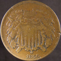 1866 US TWO CENT COIN  GOOD DETAILS -  20 DISCOUNT EUS-21