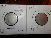 FIVE 5 LIBERTY NICKELS 1890 BETTER DATE 1892 1904 1905 1910 AVERAGE CONDITIONS