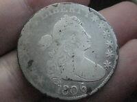 1806 DRAPED BUST HALF DOLLAR- POINTED 6, NO STEM