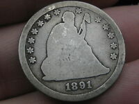 1891 S SEATED LIBERTY QUARTER  GOOD/VG OBVERSE DETAILS