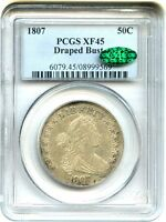 1807 50C PCGS/CAC EXTRA FINE 45 DRAPED BUST GREAT EARLY TYPE COIN - BUST HALF DOLLAR