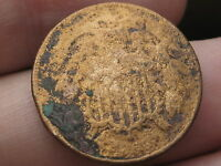 1866 TWO 2 CENT PIECE- CIVIL WAR TYPE COIN- METAL DETECTOR FIND?