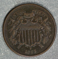 ORIGINAL CHOCOLATE BROWN 1865 TWO CENT PIECE - ALMOST UNCIRCULATED