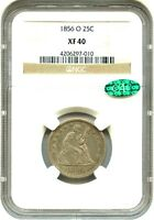 1856 O 25C NGC/CAC XF40   CHOICE O MINT   LIBERTY SEATED QUARTER   CHOICE O MINT