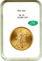 1926 $20 NGC/CAC MS65   OLD NGC HOLDER   SAINT GAUDENS DOUBLE EAGLE   GOLD COIN