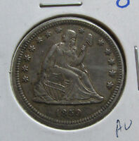 1859 O SEATED LIBERTY QUARTER AU  DATE NEW ORLEANS SILVER COIN