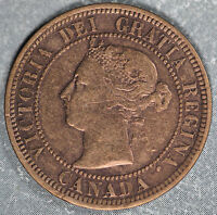 BETTER DATE 1891 LARGE DATE/LARGE LEAVES CANADA LARGE CENT   FINE DETAILS