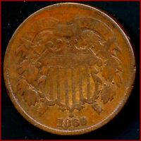 1869 2 CENT COPPER     DATE  GOOD OR BETTER   LOW BUY PRICE $20.00