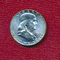 1957 FRANKLIN SILVER HALF DOLLAR STUNNING UNCIRCULATED HALF DOLLAR FREE SHIP