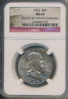 1953 FRANKLIN SILVER HALF DOLLAR   STACKS COLLECTION   NGC CERTIFIED  MS 64