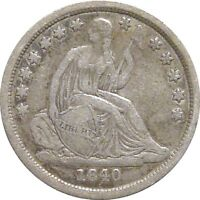 1840 SEATED DIME  NO DRAPERY  LOVELY FINE
