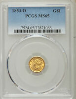 1853 O G$1 GOLD DOLLAR PCGS MS 65