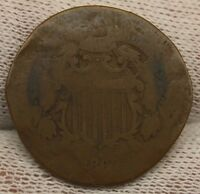 1865 TWO CENT PIECE X356 CIVIL WAR ERA HISTORICAL ARTIFACT ANTIQUE COIN
