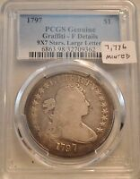 1797 $1 PCGS FINE DETAILS 9X7 STARS SMALL EAGLE DRAPED BUST SILVER DOLLAR