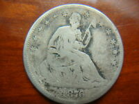 1876 CC FULL DATE SEATED LIBERTY HALF DOLLAR NICE LOOKING COIN STG