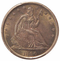 1860 S 50C PCGS MS 61   BETTER DATE SEATED LIBERTY HALF DOLLAR