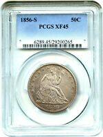 1856 S 50C PCGS XF45    S MINT   LIBERTY SEATED HALF DOLLAR