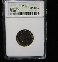 1957  JEFFERSON PROOF NICKEL   PF 66 ANACS      1008