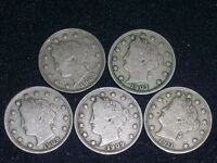 FIVE 5 LIBERTY NICKELS WITH LIBERTY -1905, 1907, 1908. 1909, 1911     C0426-1