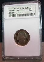 1999-S ANACS PF 68 HVY CAMEO JEFFERSON NICKEL      2011