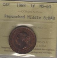 1888 CANADA LARGE CENT COIN. ICCS MS 63 REPUNCHED MIDDLE 8