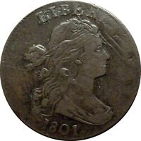 1801 DRAPED BUST CENT  EXTRA FINE  S 213 RARITY 2