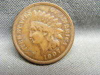 1907 INDIAN HEAD PENNY CENT FULL LIBERTY VG ESTATE FRESH