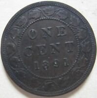 1891 LD LL CANADA LARGE CENT COIN. VF/EF KEY DATE C121
