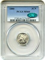 1880 3CN PCGS/CAC MS66   LOW MINTAGE DATE   3 CENT NICKEL   LOW MINTAGE DATE