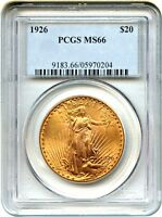 1926 $20 PCGS MS66   BETTER DATE IN GEM   SAINT GAUDENS DOUBLE EAGLE   GOLD COIN