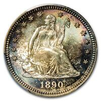 1890   LIBERTY  SEATED  QUARTER   PCGS MS 65  RAINBOW GEM COIN   $2188.88