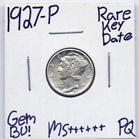 1927 P MERCURY DIME  DATE US MINT GEM PQ SILVER COIN BU UNC MS