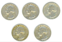A LOT OF 5 CIRCULATED 1964 D MINTED WASHINGTON SILVER QUARTERS