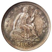 1853 ARROWS H10C NGC MS 64   NEAR GEM SEATED LIBERTY HALF DIME IN OLD FAT HOLDER